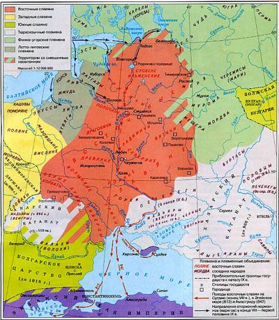 Карта №1 «Расселение восточных